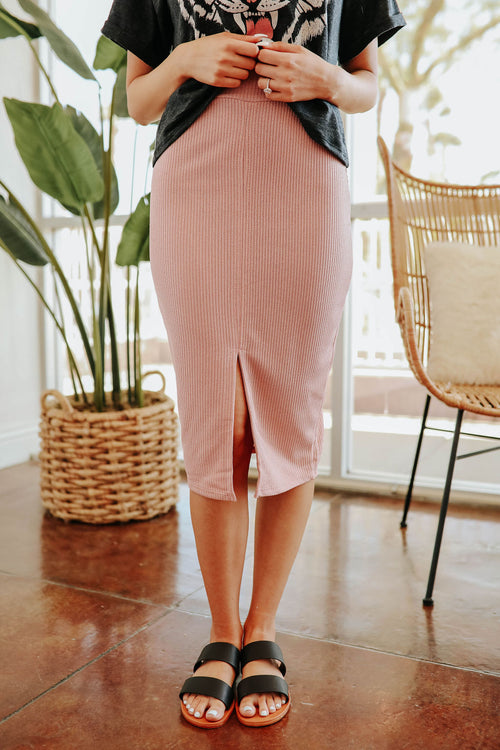THE PHOENIX ELASTIC WAISTBAND SKIRT IN PINK