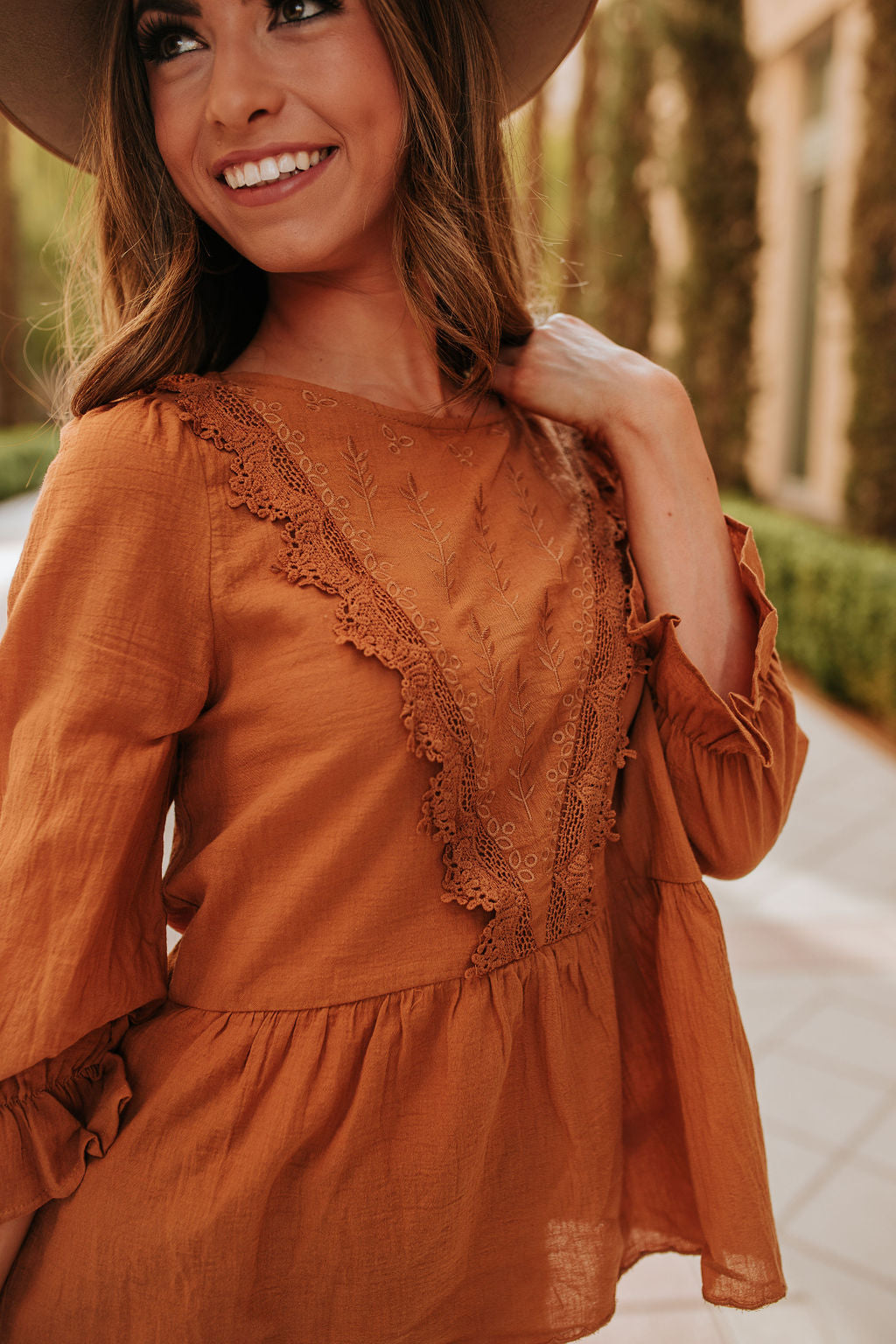 THE ELLIE EMBROIDERED TOP IN CAMEL