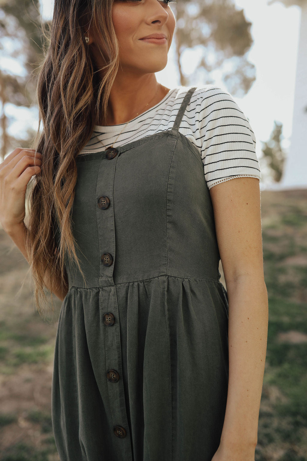 THE CHENEY SLEEVELESS DRESS IN OLIVE