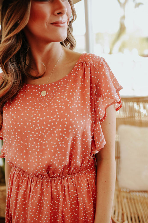 THE CHARLIZE CHIFFON DRESS IN PEACH