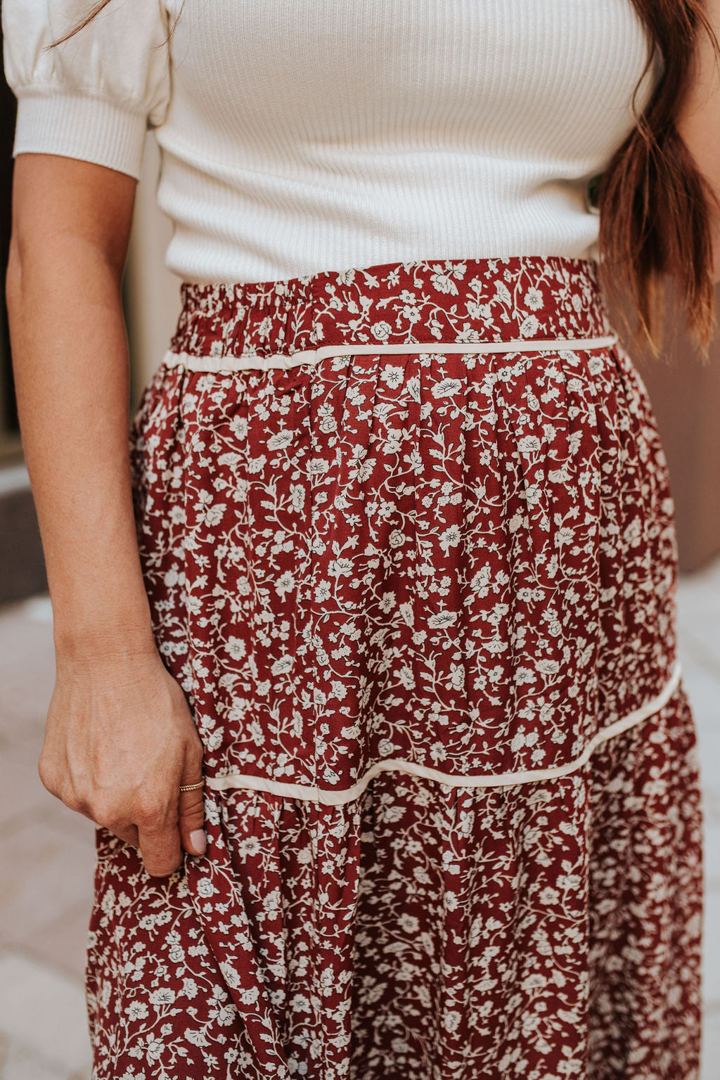 THE ROSALIE FLORAL MIDI SKIRT IN RUST