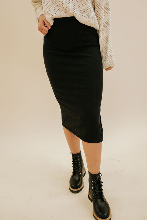 THE SIDNEY FITTED MIDI SKIRT IN BLACK