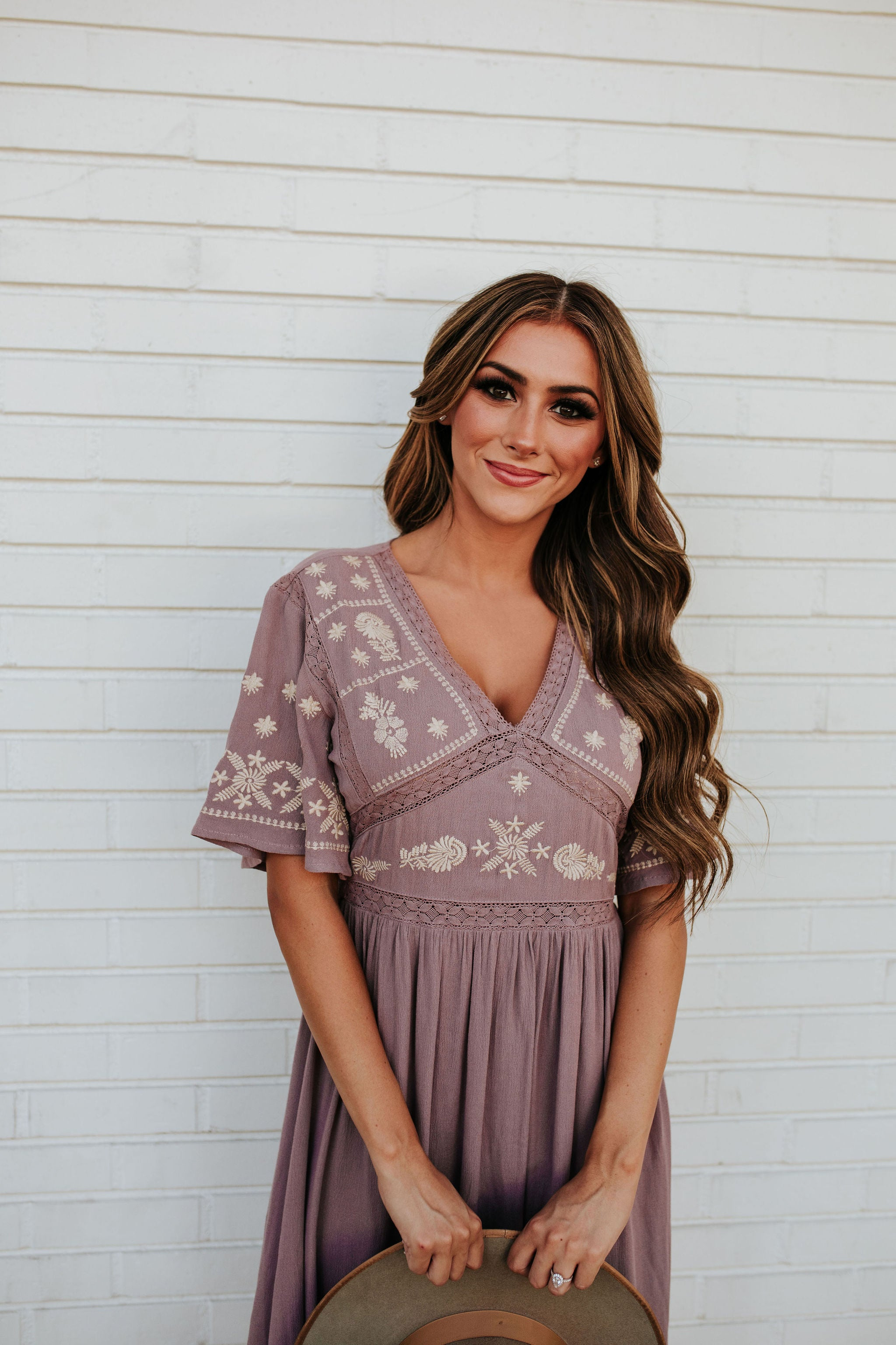 THE JASMINE EMBROIDERED MIDI DRESS IN DUSTY MAUVE