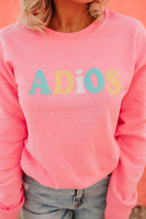 THE ADIOS GRAPHIC CREWNECK IN NEON PINK