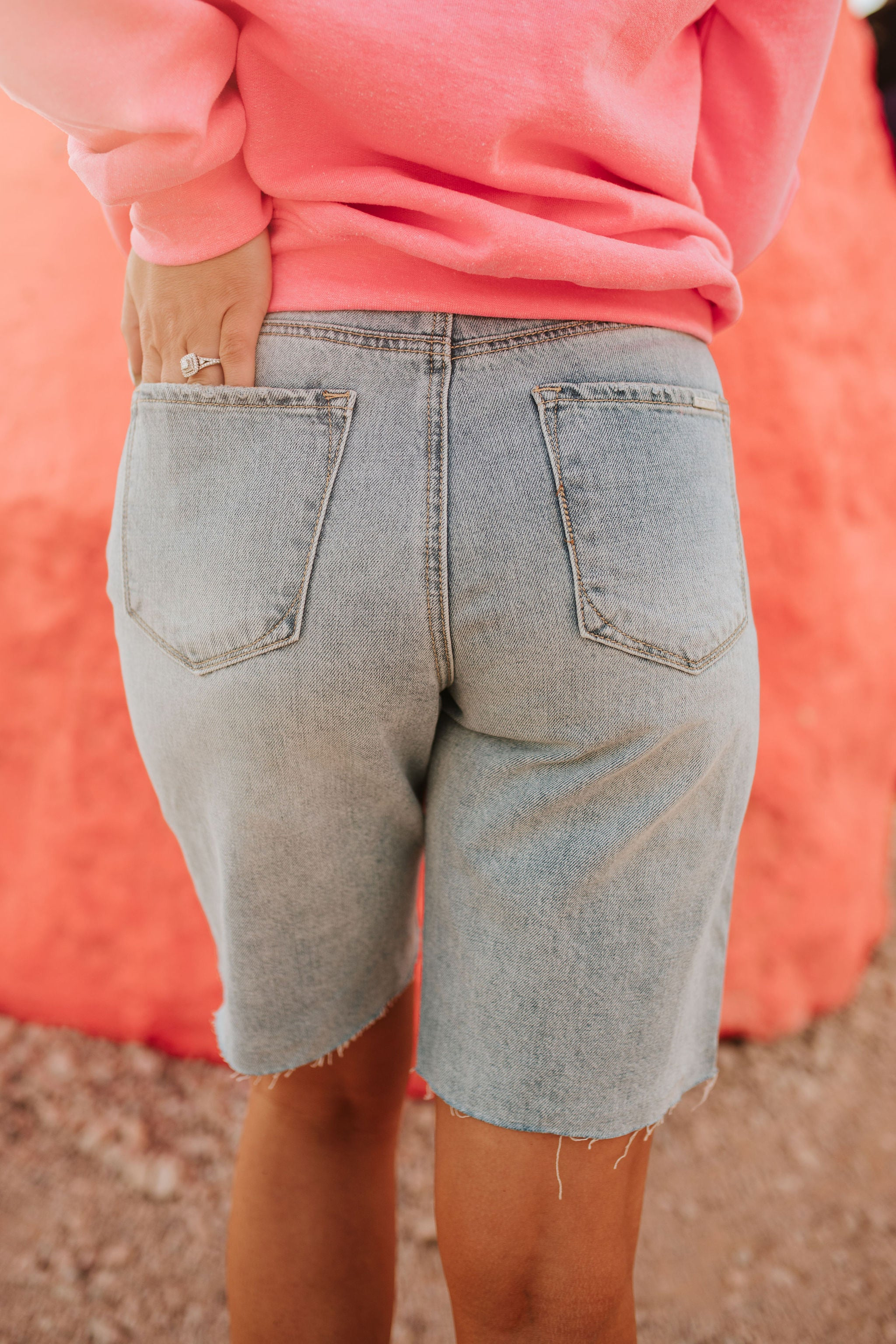 THE HEATHER HI-RISE BOYFRIEND BERMUDA SHORTS IN MEDIUM WASH