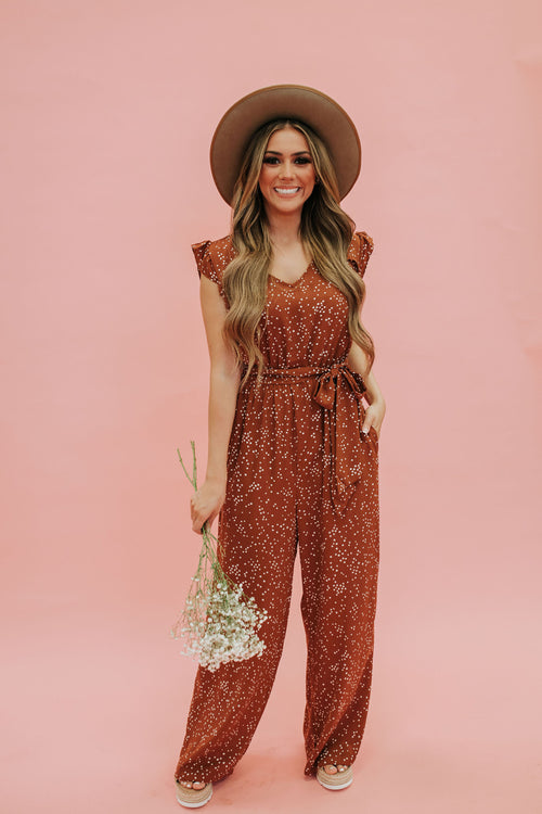 THE ROBYN SPECKLED JUMPSUIT IN RUST