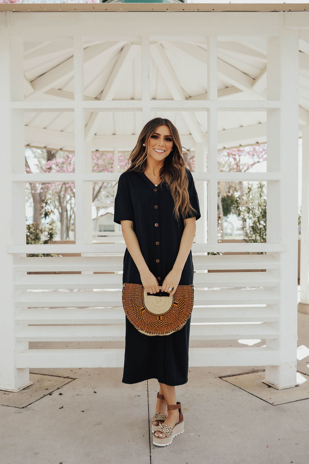 THE BASIC BUTTON DOWN MIDI DRESS IN BLACK