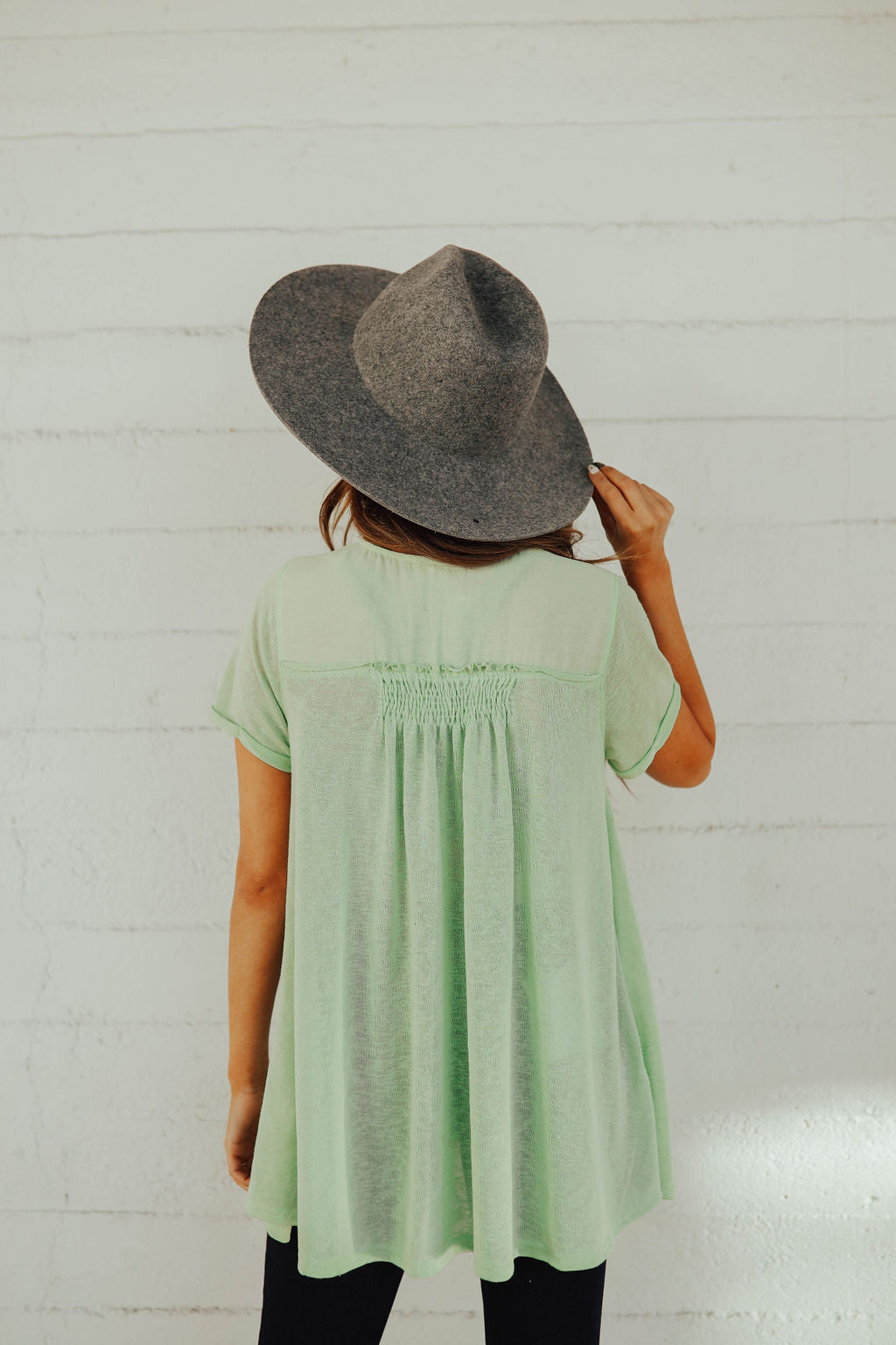 THE AUBREY BUTTON FRONT TOP IN SHERBET
