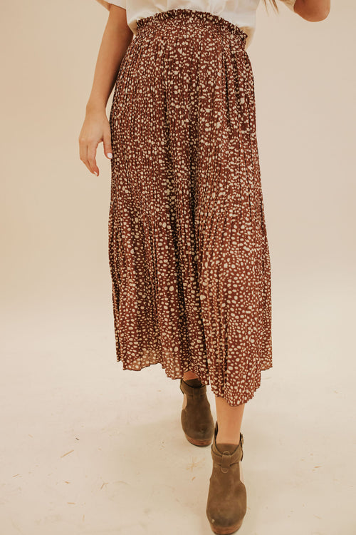 THE SLOW DANCE SPECKLED SKIRT IN COFFEE