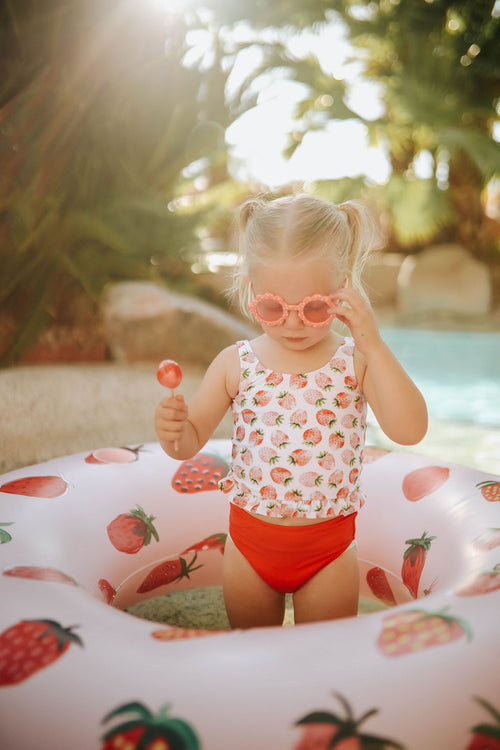 PINK DESERT GIRLS MINI RUFFLE PEPLUM SWIMSUIT SET IN SUMMER STRAWBERRY AND POPPY