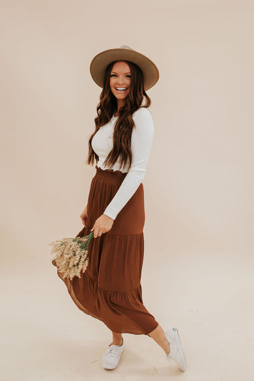 THE TULSA TIERED MIDI SKIRT IN TOFFEE