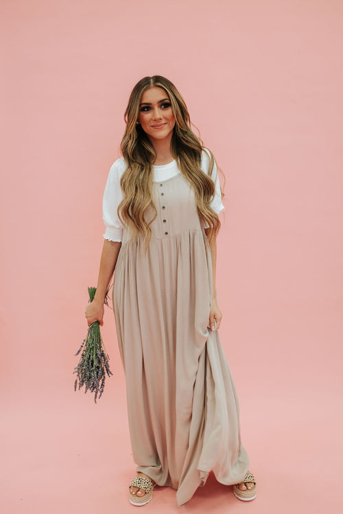 THE TATUM MAXI DRESS IN TAUPE