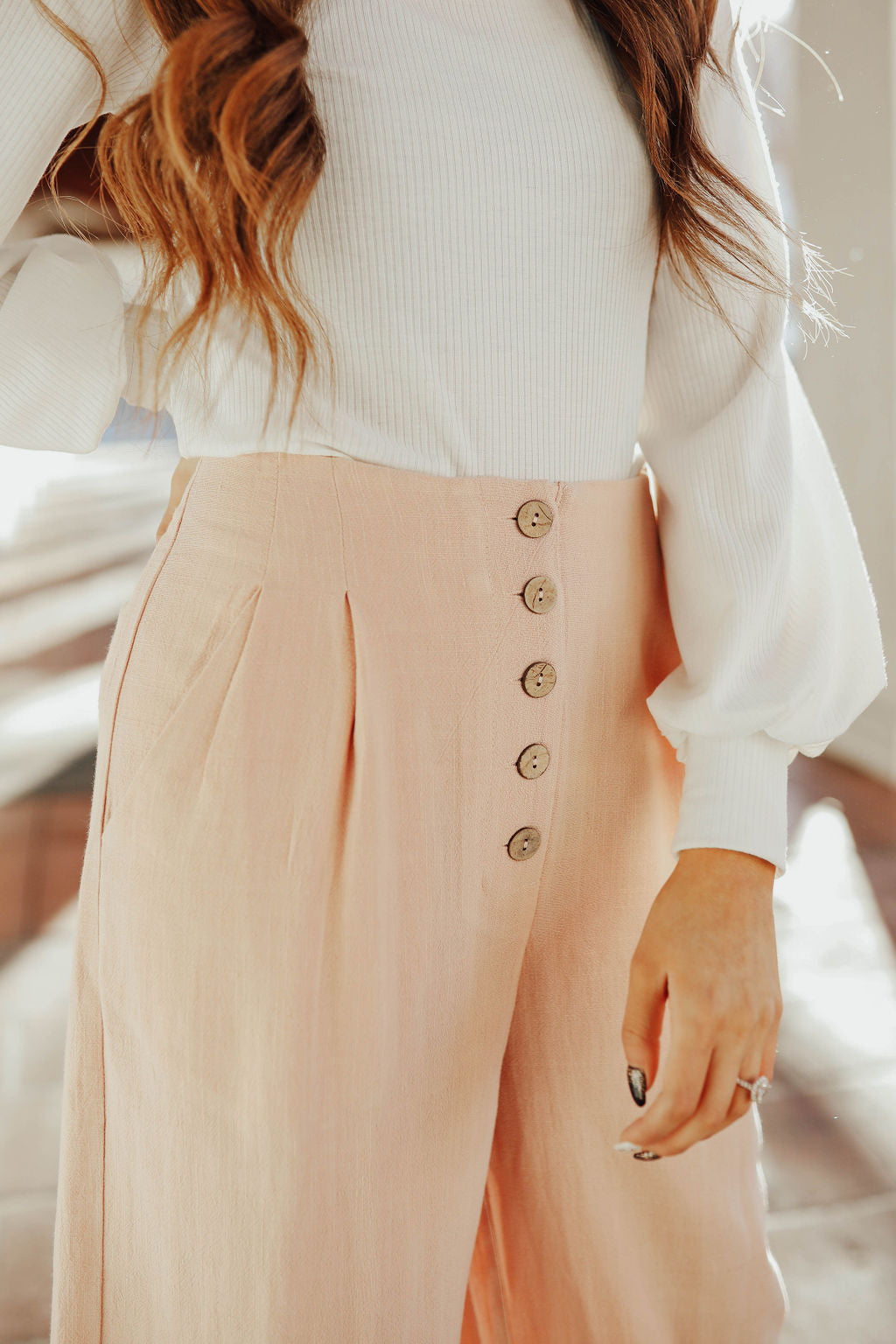 THE ASHLEY WIDE LEG PANT IN BLUSH