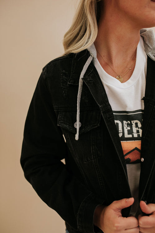 THE BROOKE HOODED DENIM JACKET IN BLACK