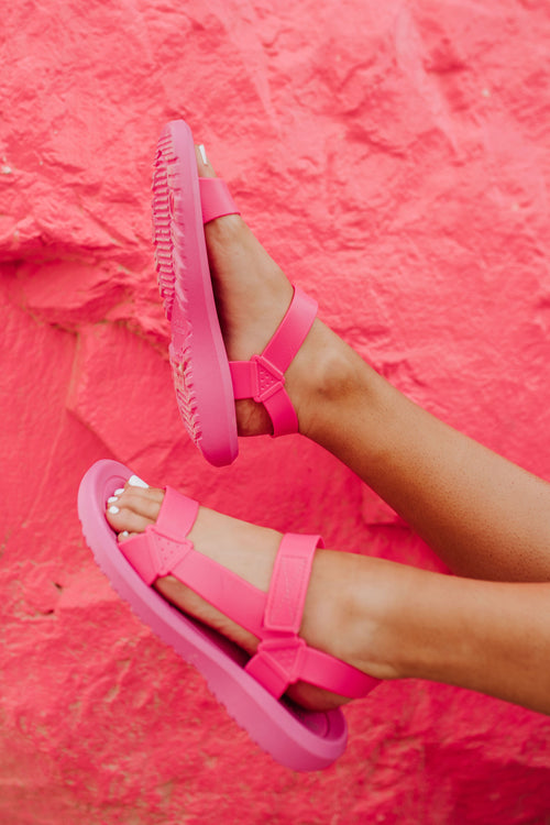 THE BALI T-STRAP SANDALS IN BARBIE PINK