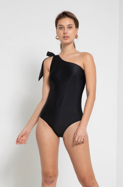 THE TIE ONE SHOULDER ONE PIECE IN BLACK