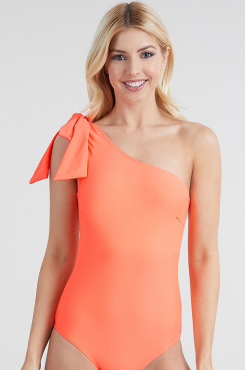 THE TIE ONE SHOULDER ONE PIECE IN CORAL