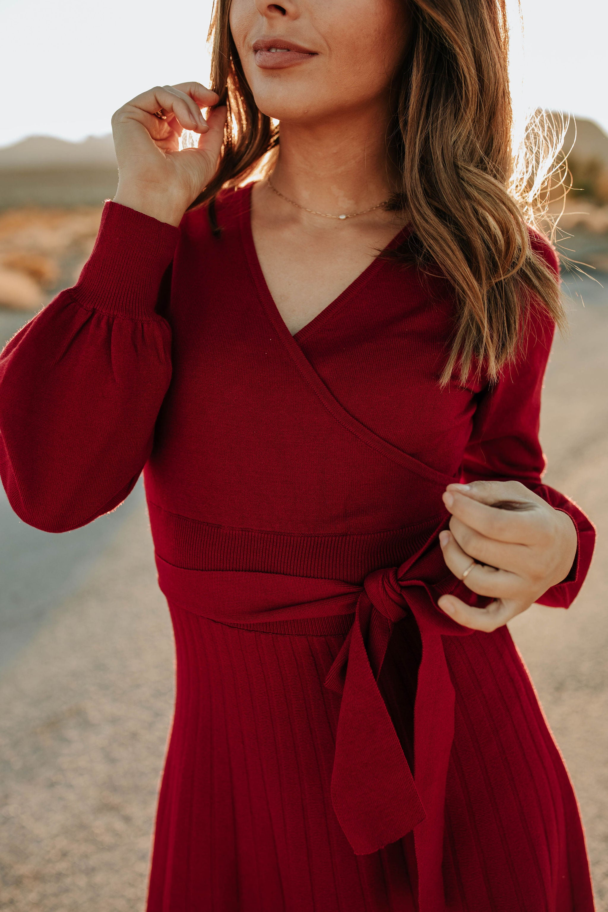 THE ROWAN SWEATER DRESS IN RUBY