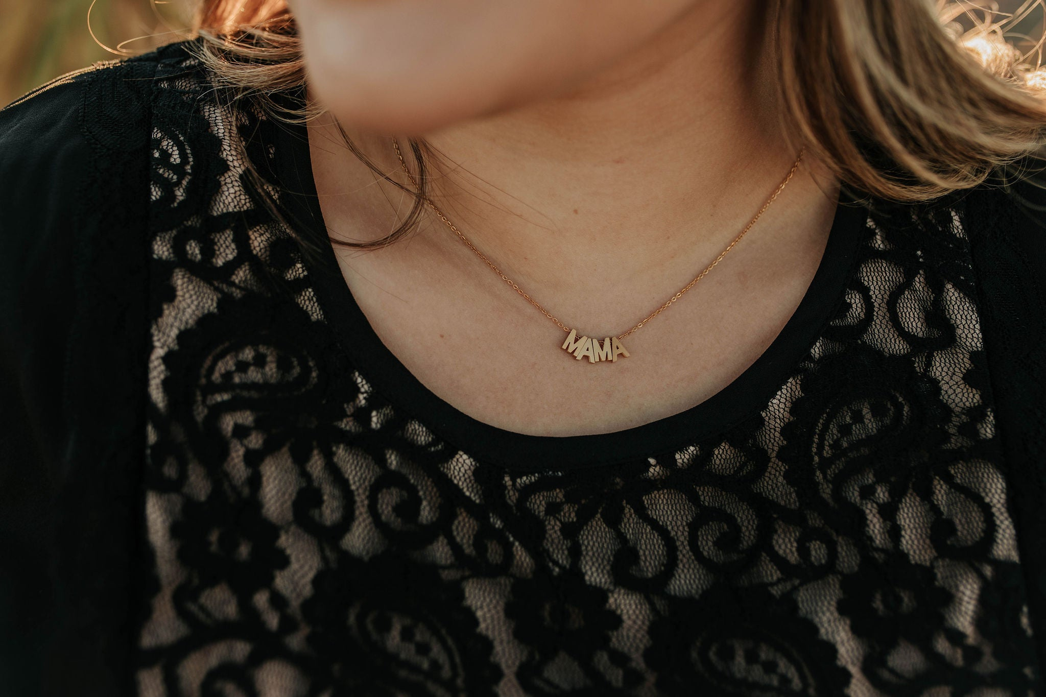 THE MAMA LETTER NECKLACE IN GOLD