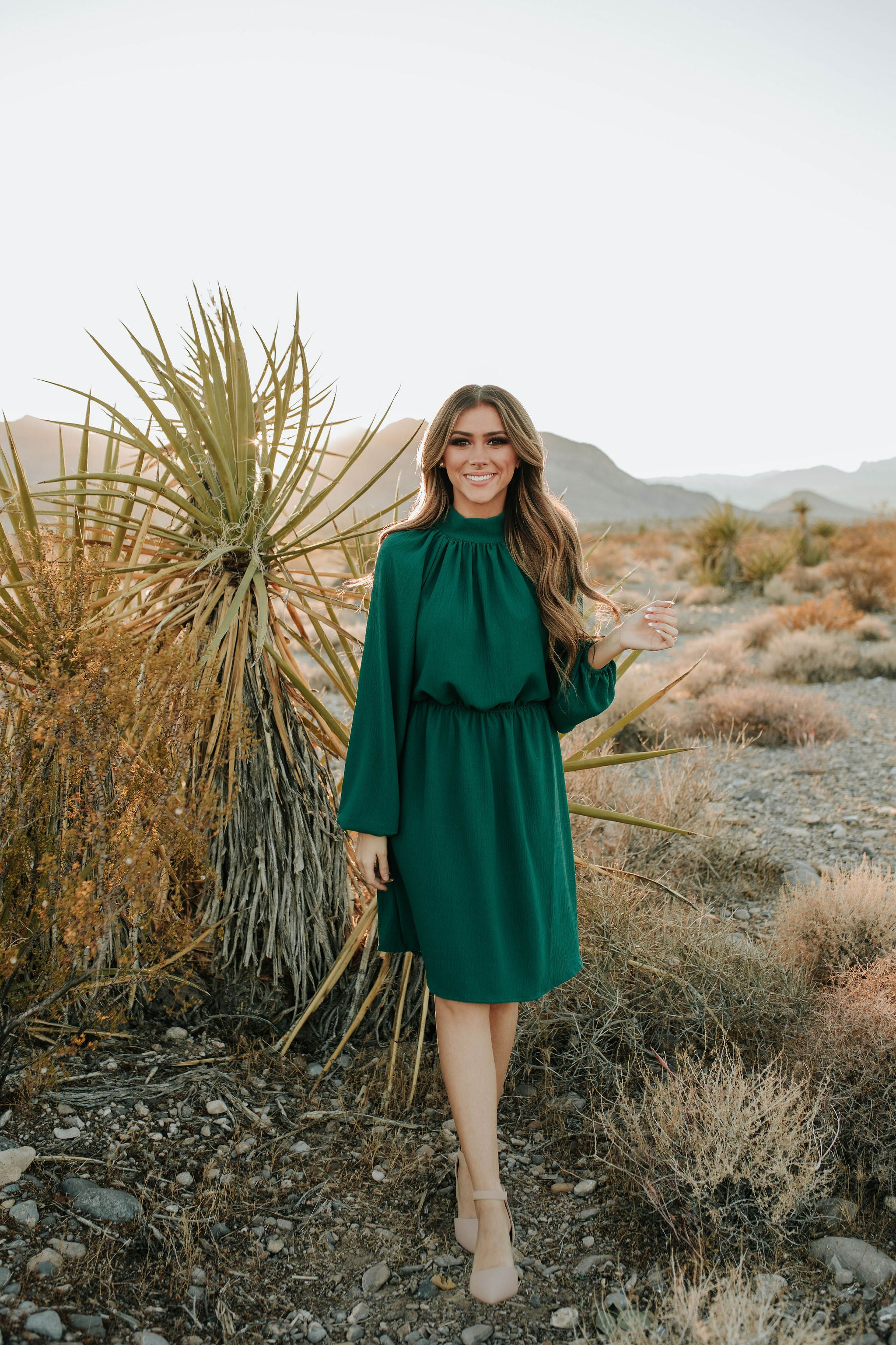 THE HARMONY HIGH NECK LONG SLEEVE MIDI DRESS IN EMERALD