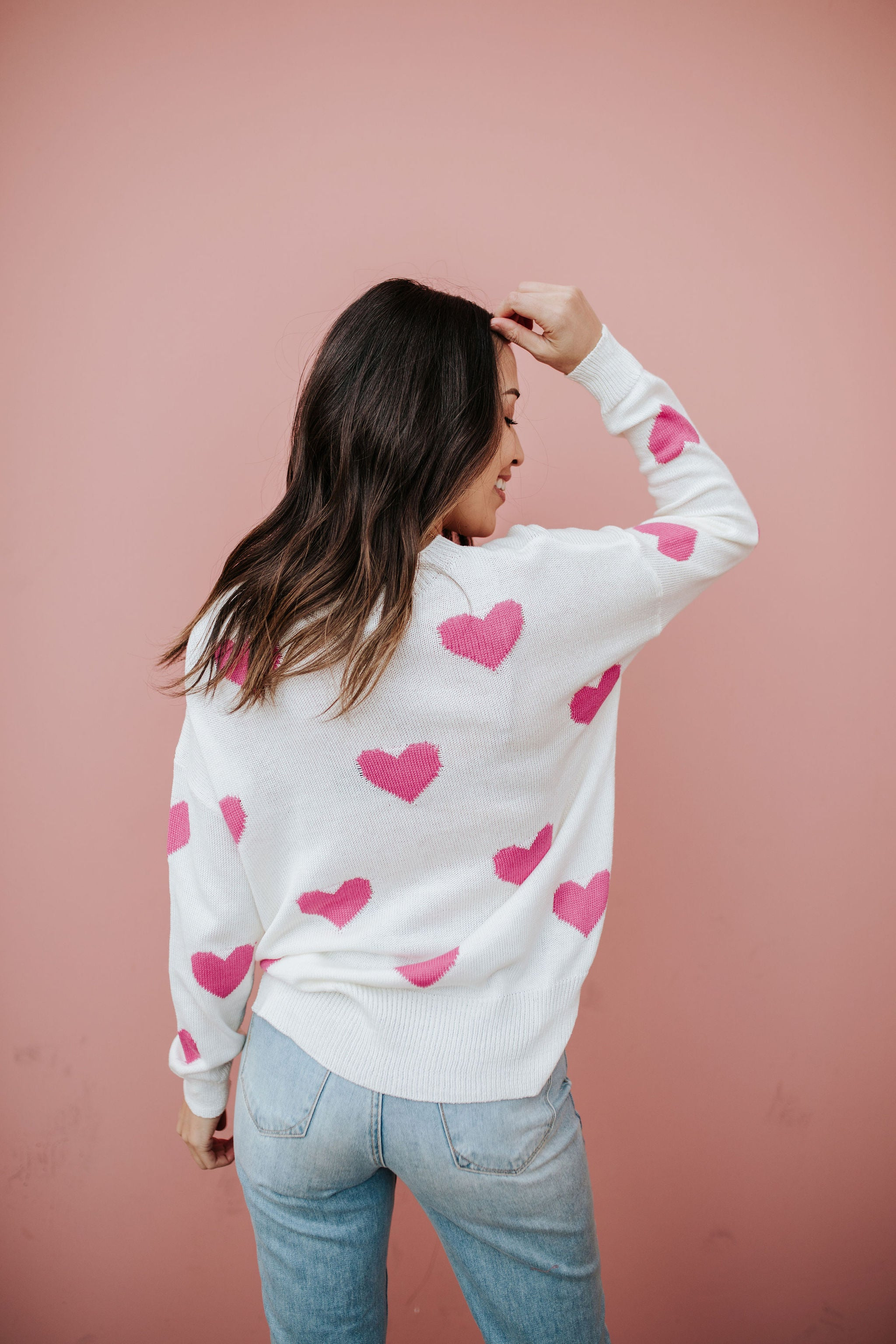 THE MI AMOR HEART SWEATER IN WHITE