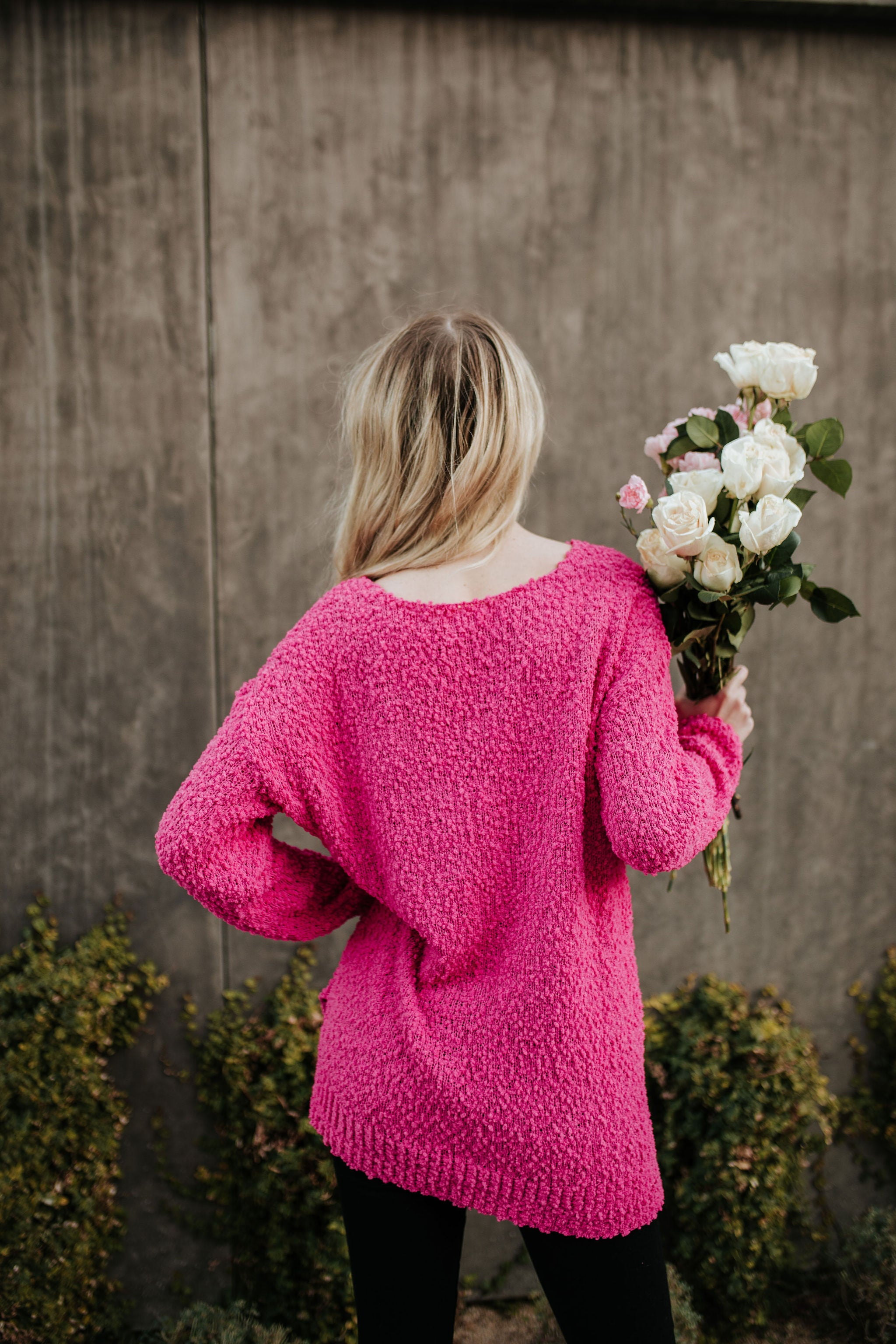 THE PORTLAND POPCORN SWEATER IN HOT PINK