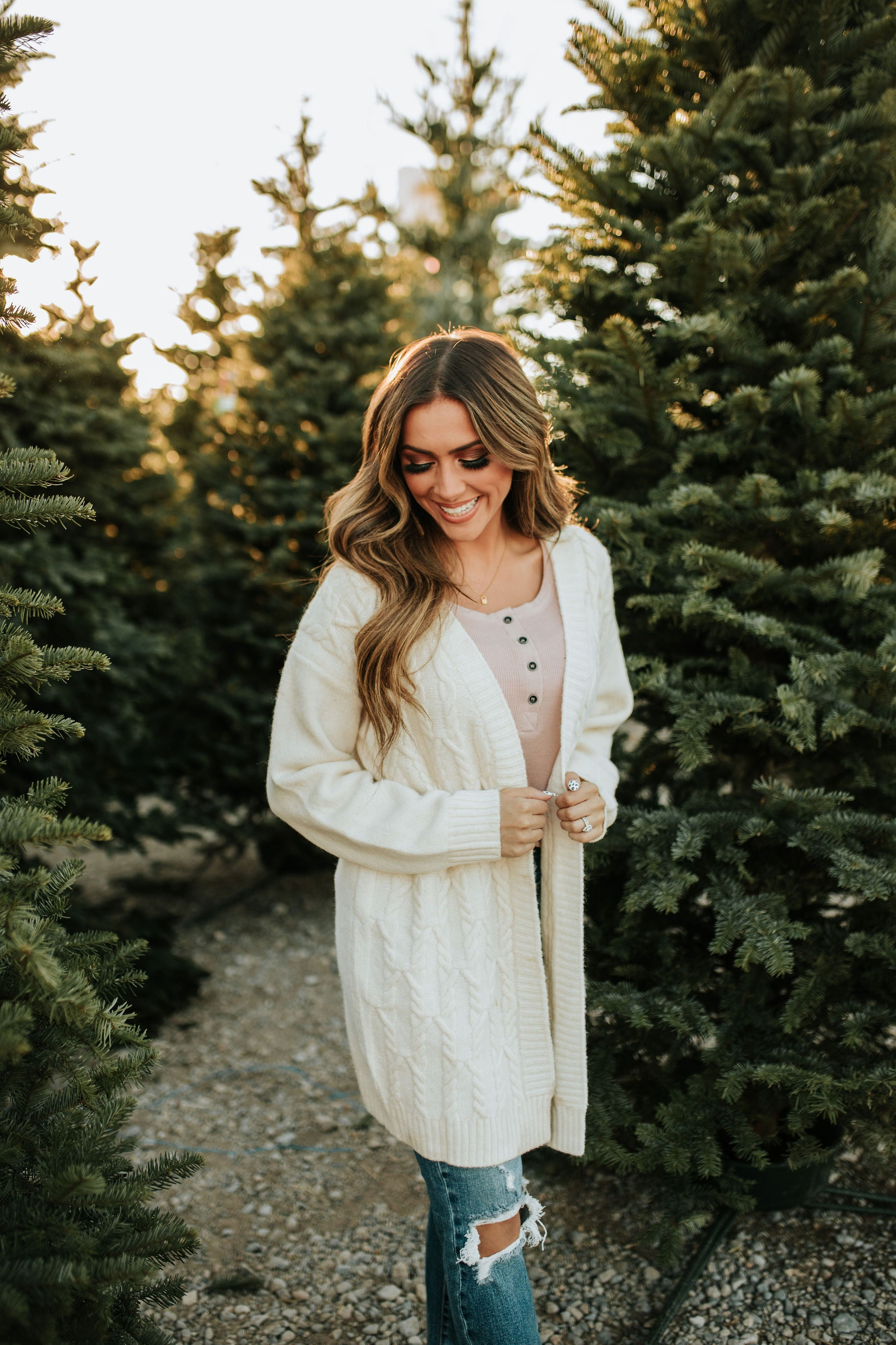 THE CALLIE KNITTED CARDIGAN IN CREAM