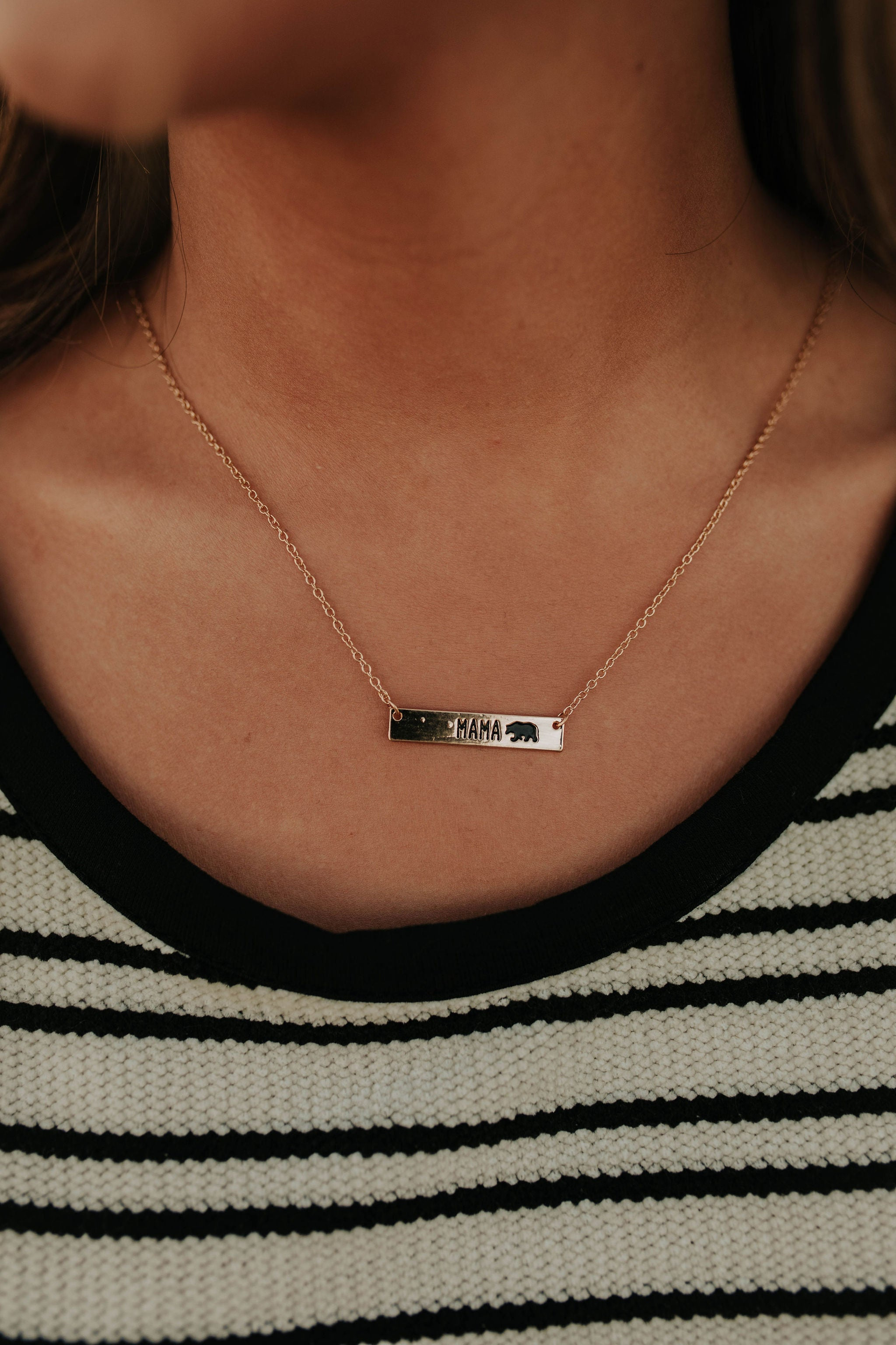 THE MAMA BEAR GOLD BAR NECKLACE