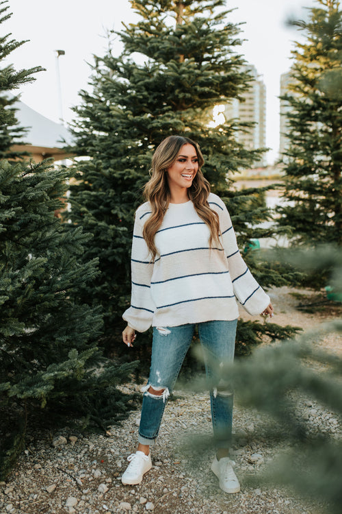 THE BAYLOR FUZZY STRIPED SWEATER IN BLUSH
