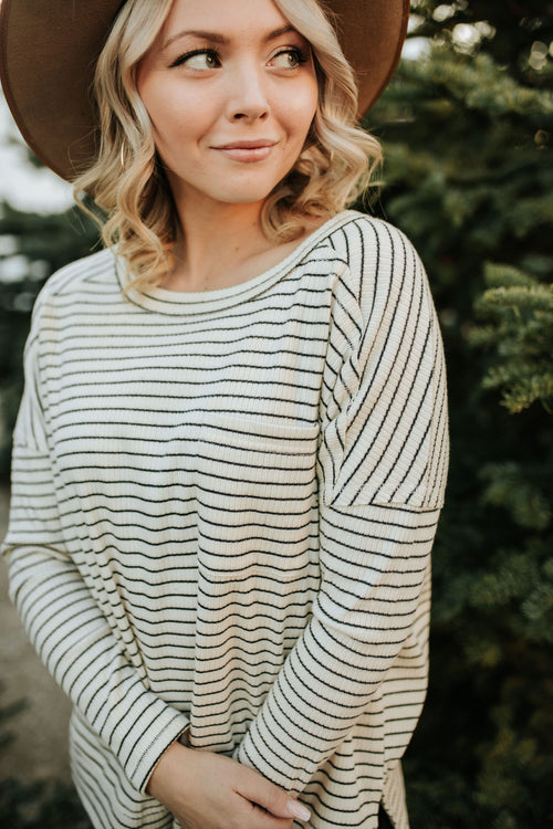THE SYDNEY STRIPED LONG SLEEVE TOP IN CREAM