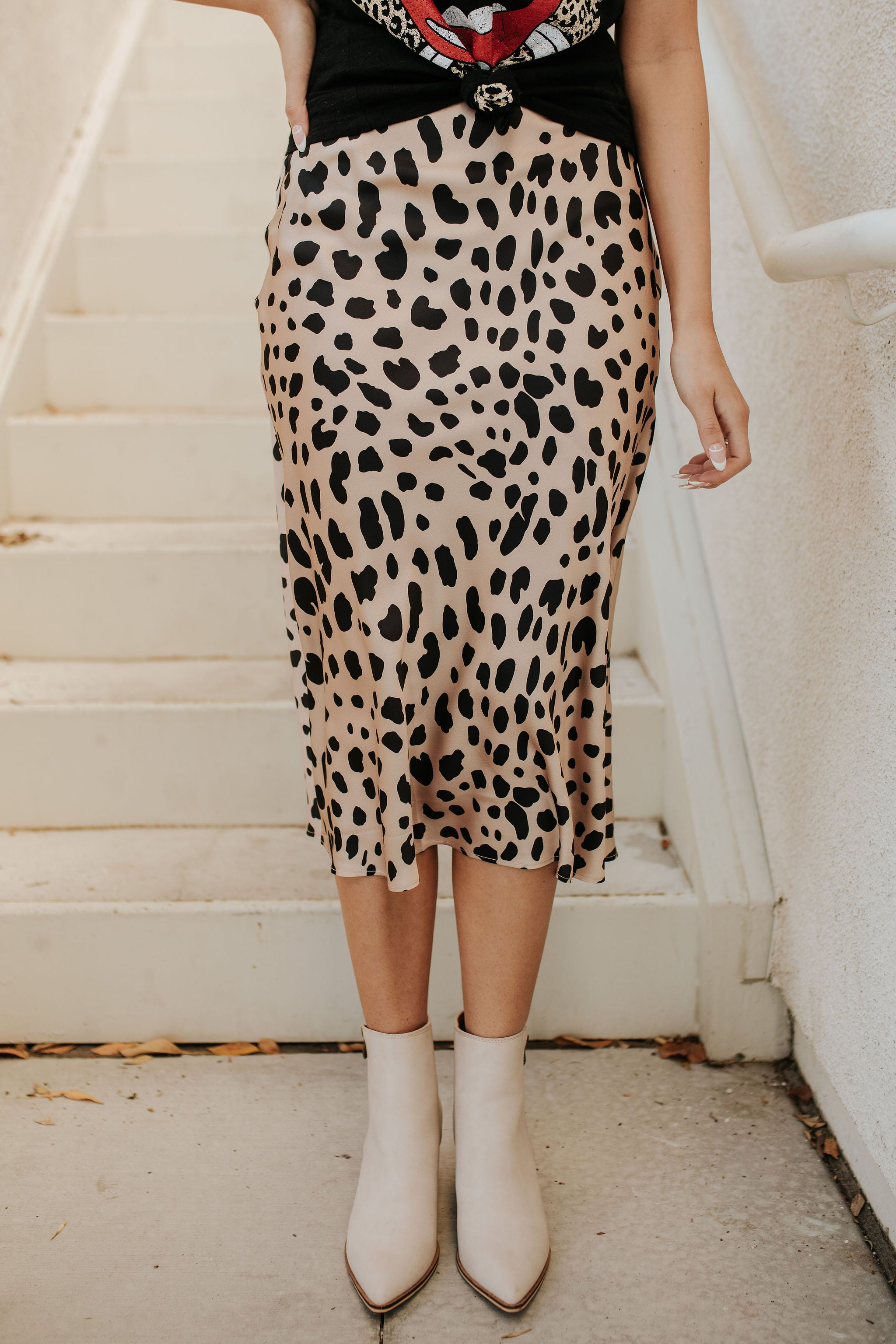THE SUNDANCE SATIN MIDI SKIRT IN CHEETAH