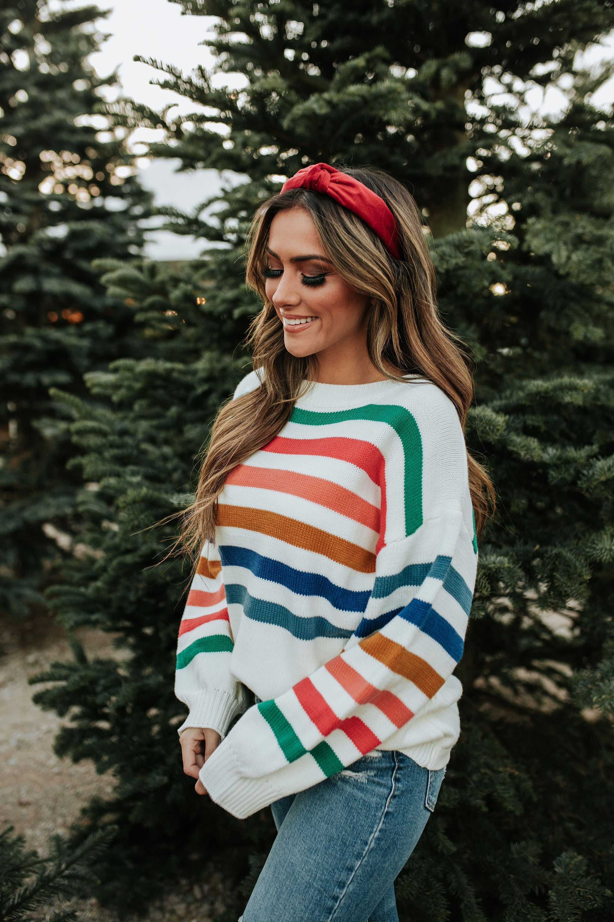 THE GRACE COLORFUL STRIPE SWEATER IN IVORY