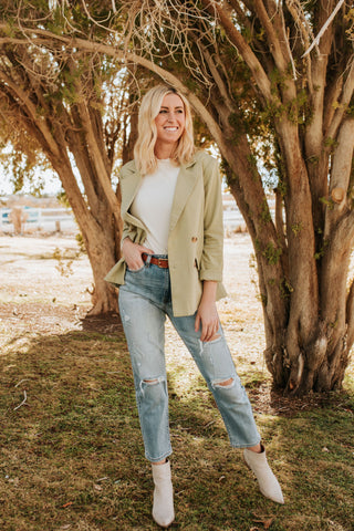 THE DALLAS RUFFLED PULLOVER IN SAGE