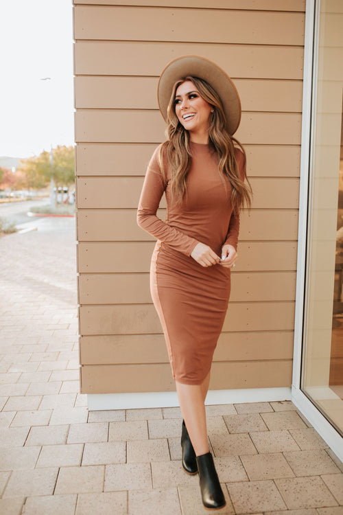 THE HARLEE LONG SLEEVE MIDI BODYCON DRESS IN HAZEL
