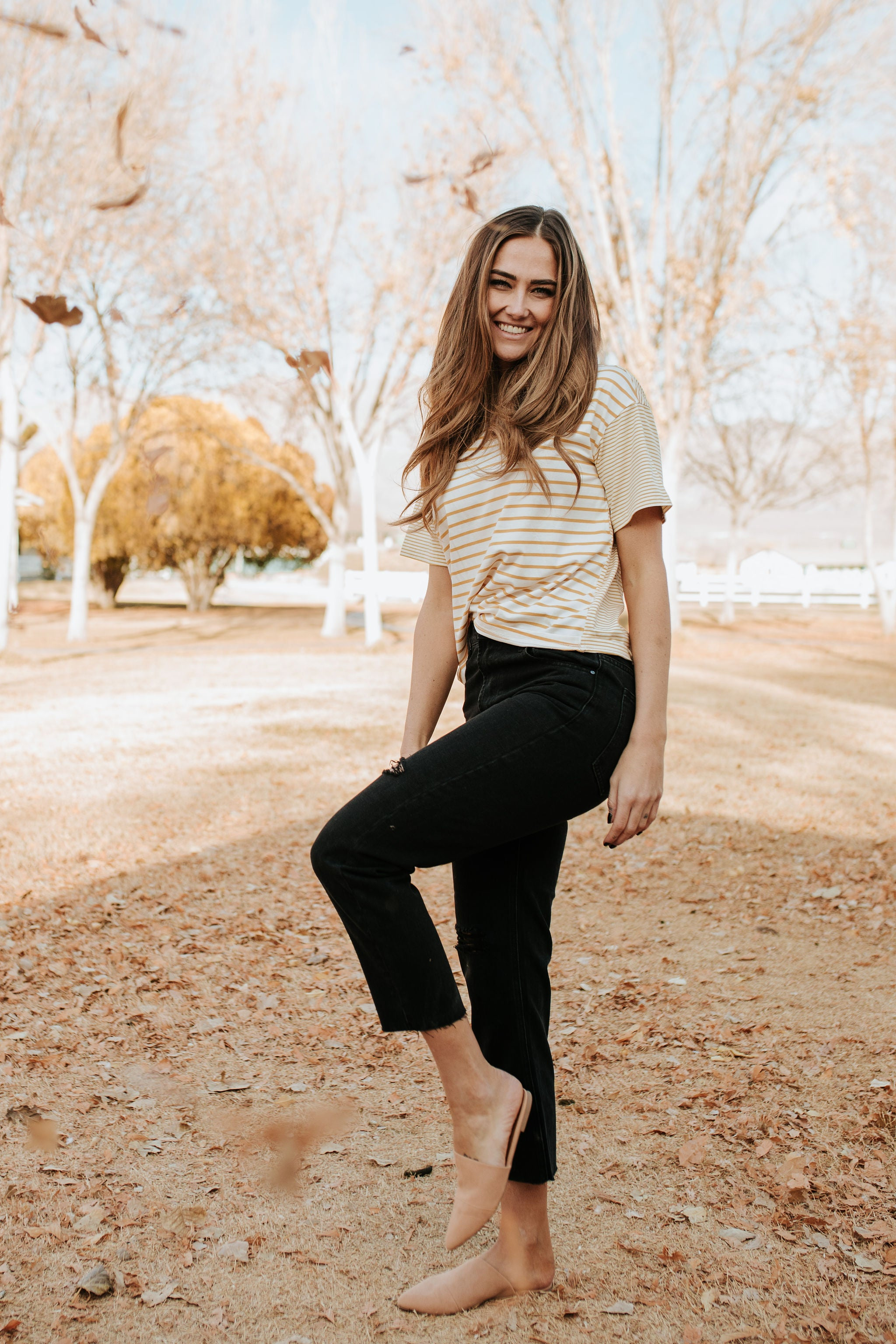 THE MADDY STRIPED TOP IN MUSTARD