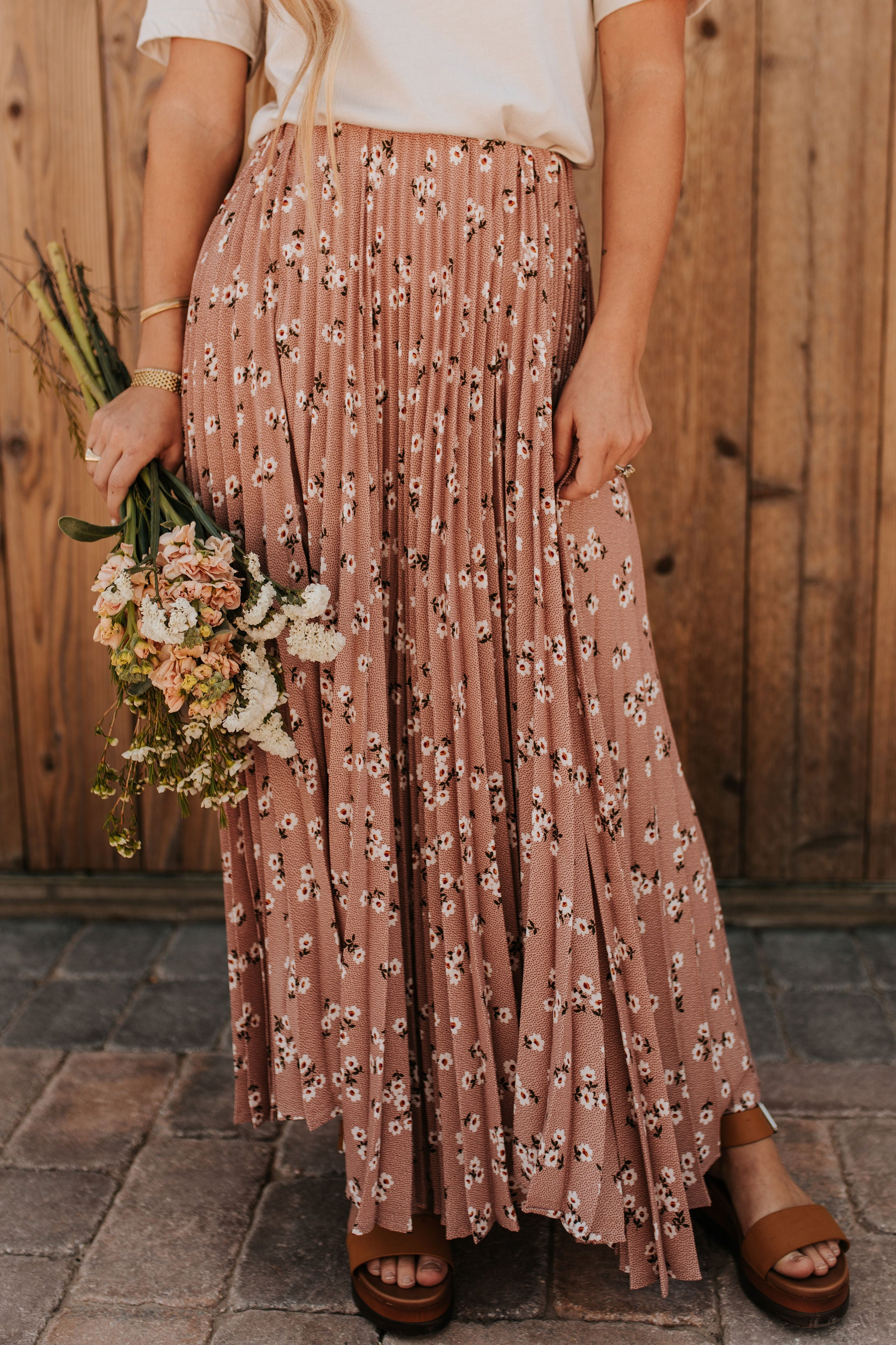 THE ENCHANTED GARDEN PLEATED MAXI SKIRT IN MAUVE