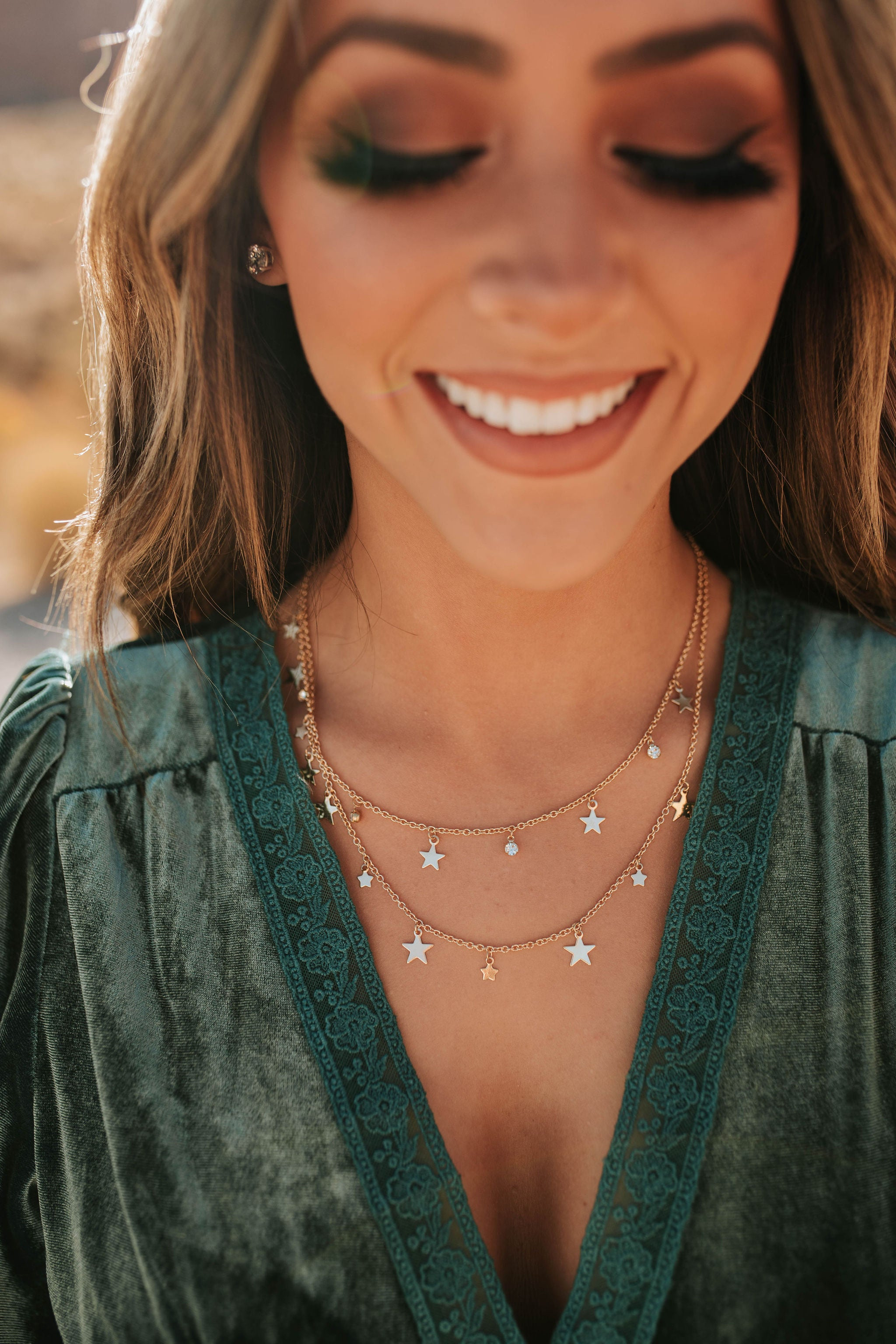 THE STAR AND RHINESTONE CHARMED LAYERED NECKLACE