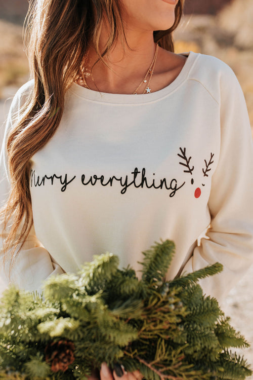 THE PINK DESERT MERRY EVERYTHING PULLOVER IN CREAM