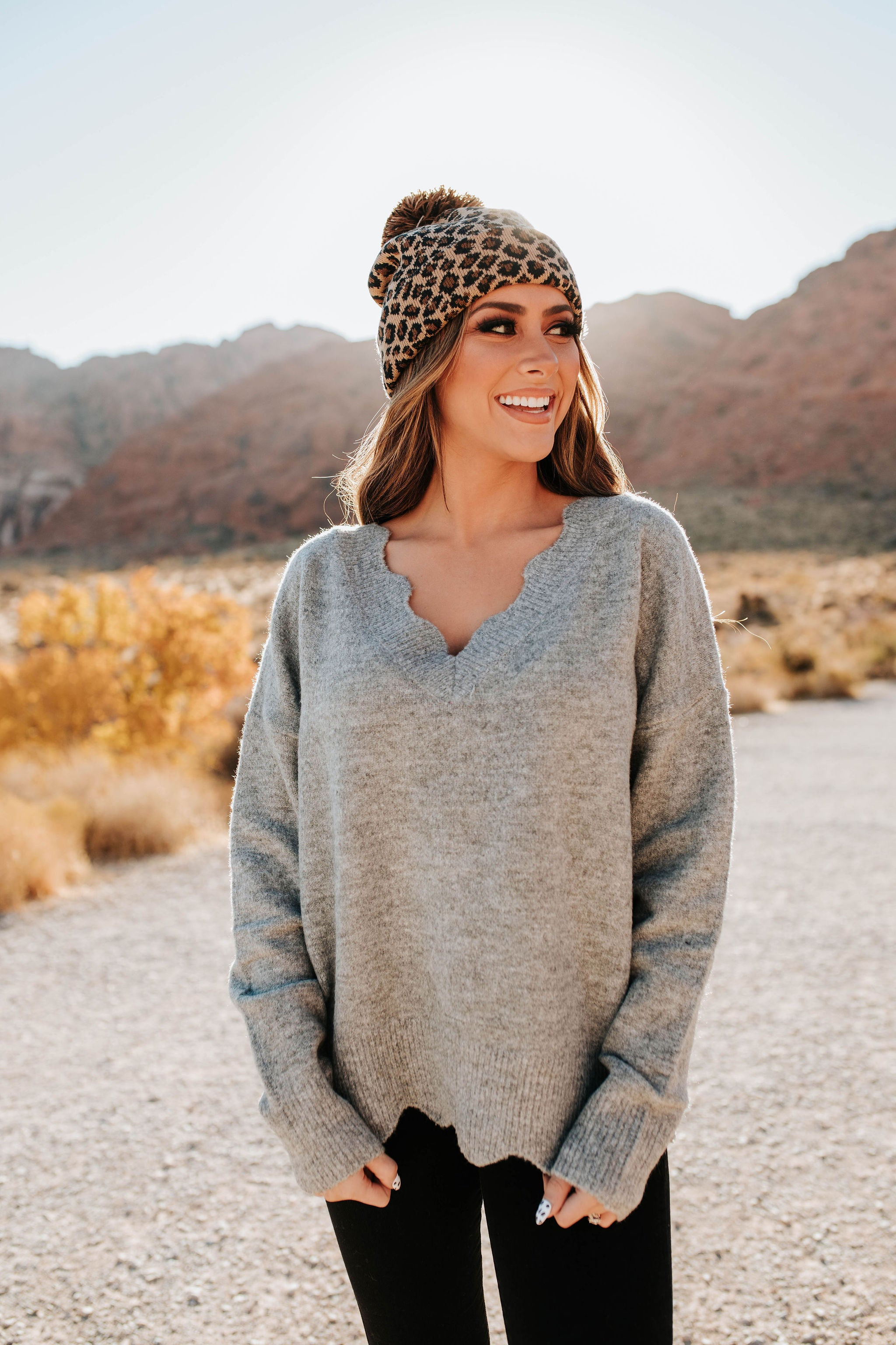 THE SHEA SCALLOPED SWEATER IN HEATHER GREY