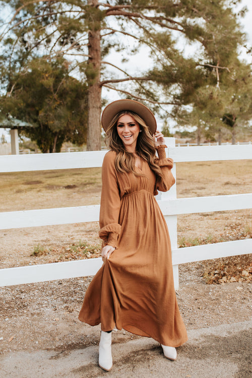 THE MILAN V-NECK DRESS IN RUST