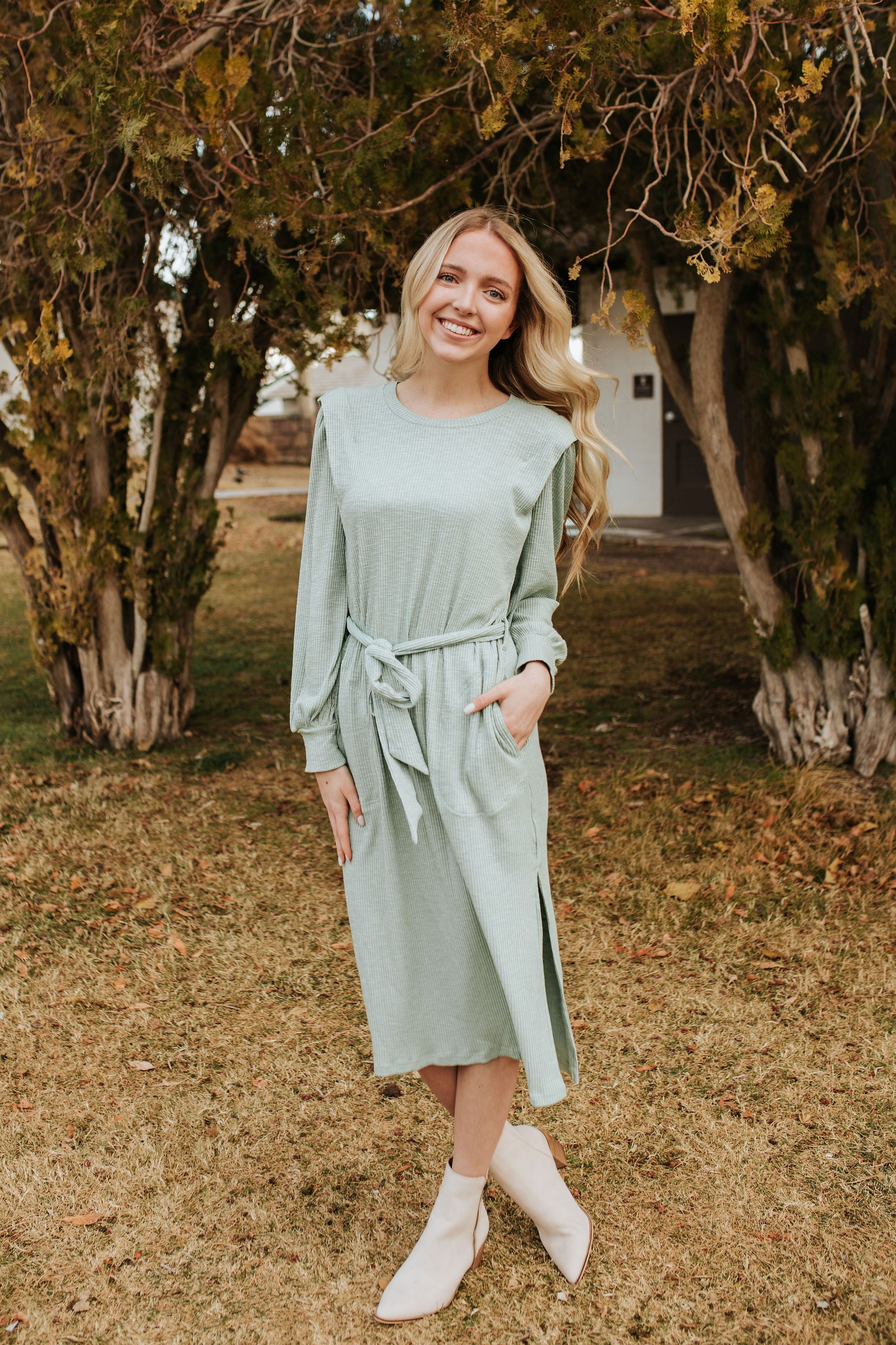 THE RYDER RIBBED KNIT MIDI DRESS IN SAGE