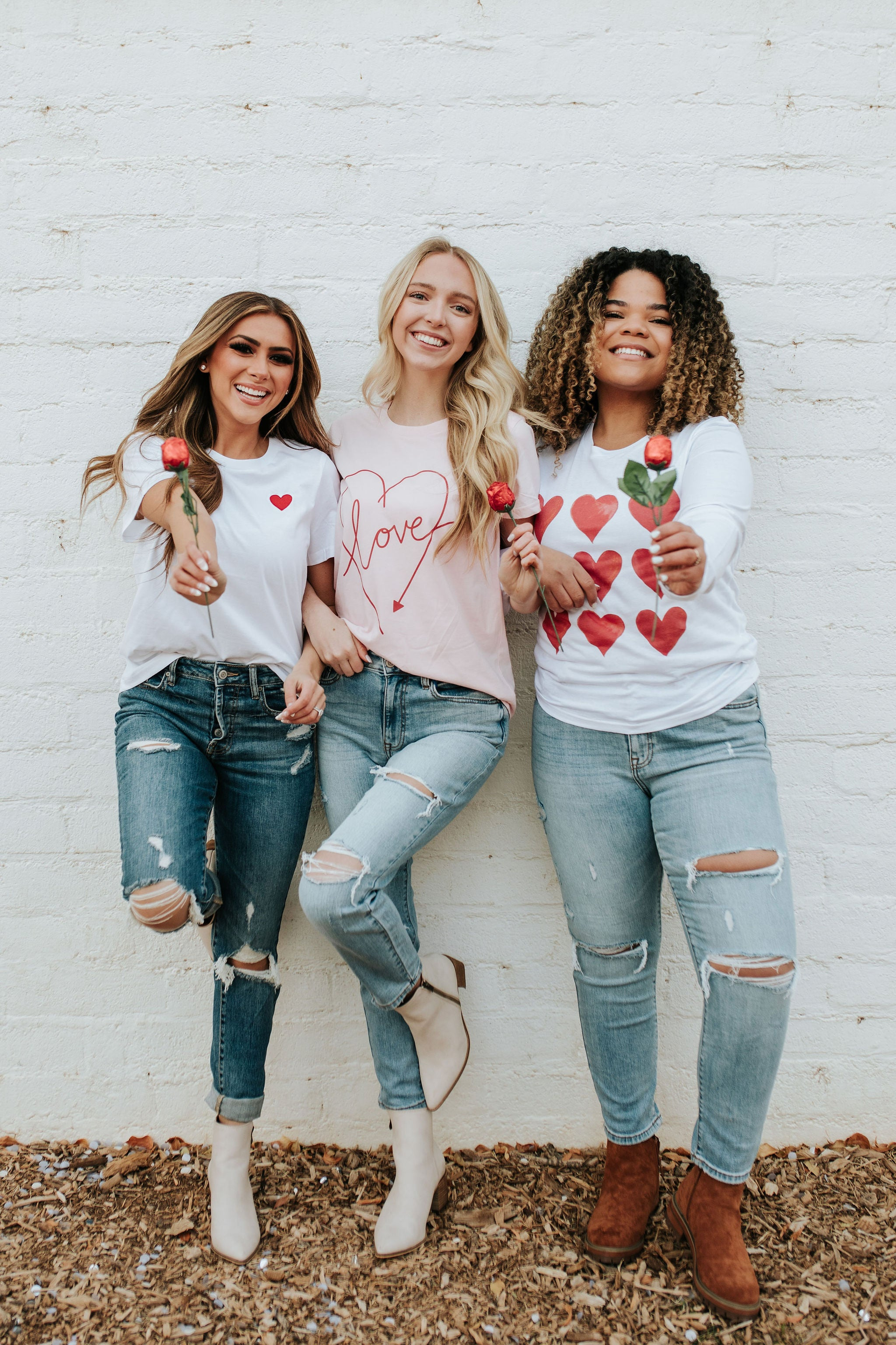 THE PINK DESERT EMBROIDERED HEART TEE
