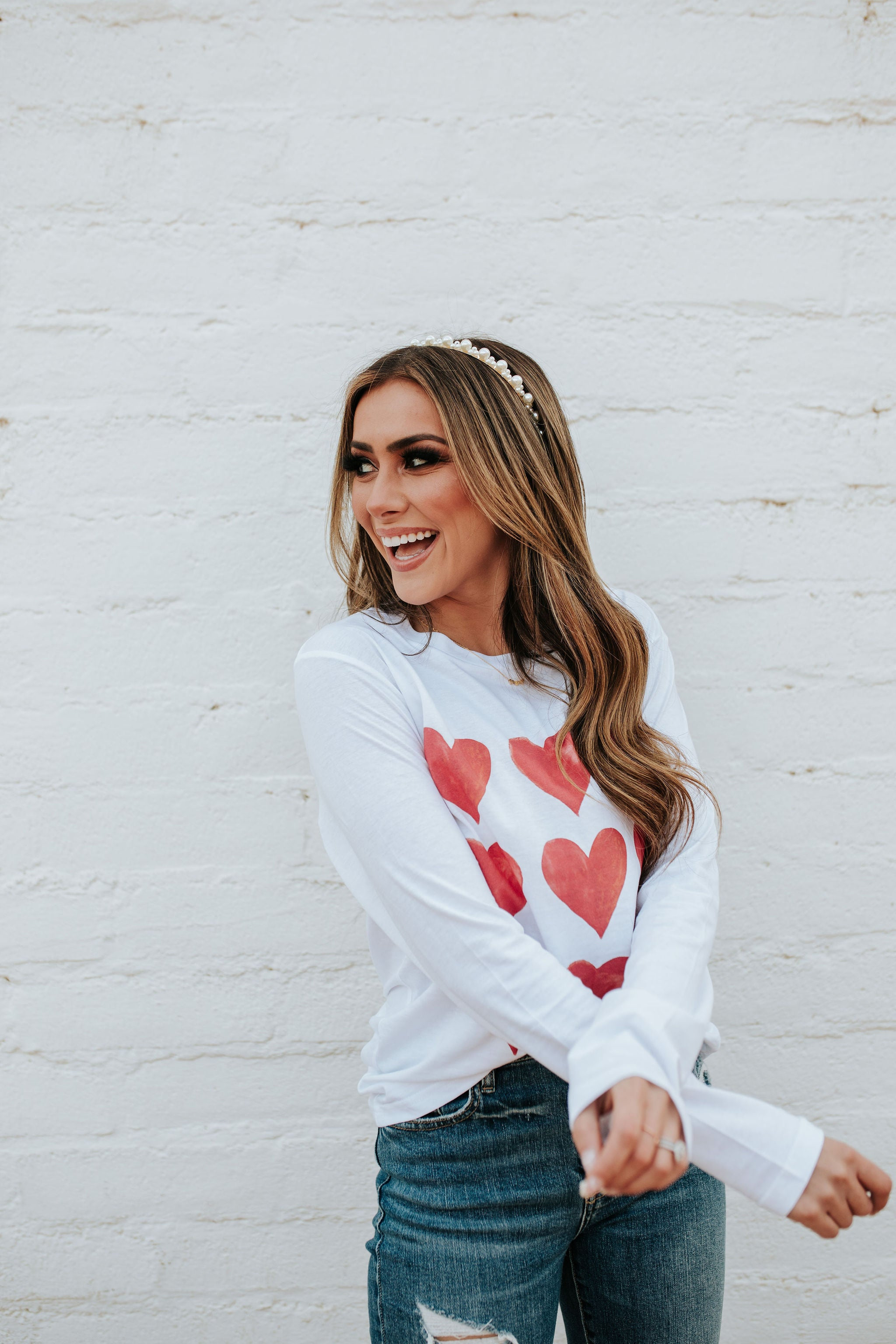 THE PINK DESERT WATERCOLOR HEARTS LONG SLEEVE