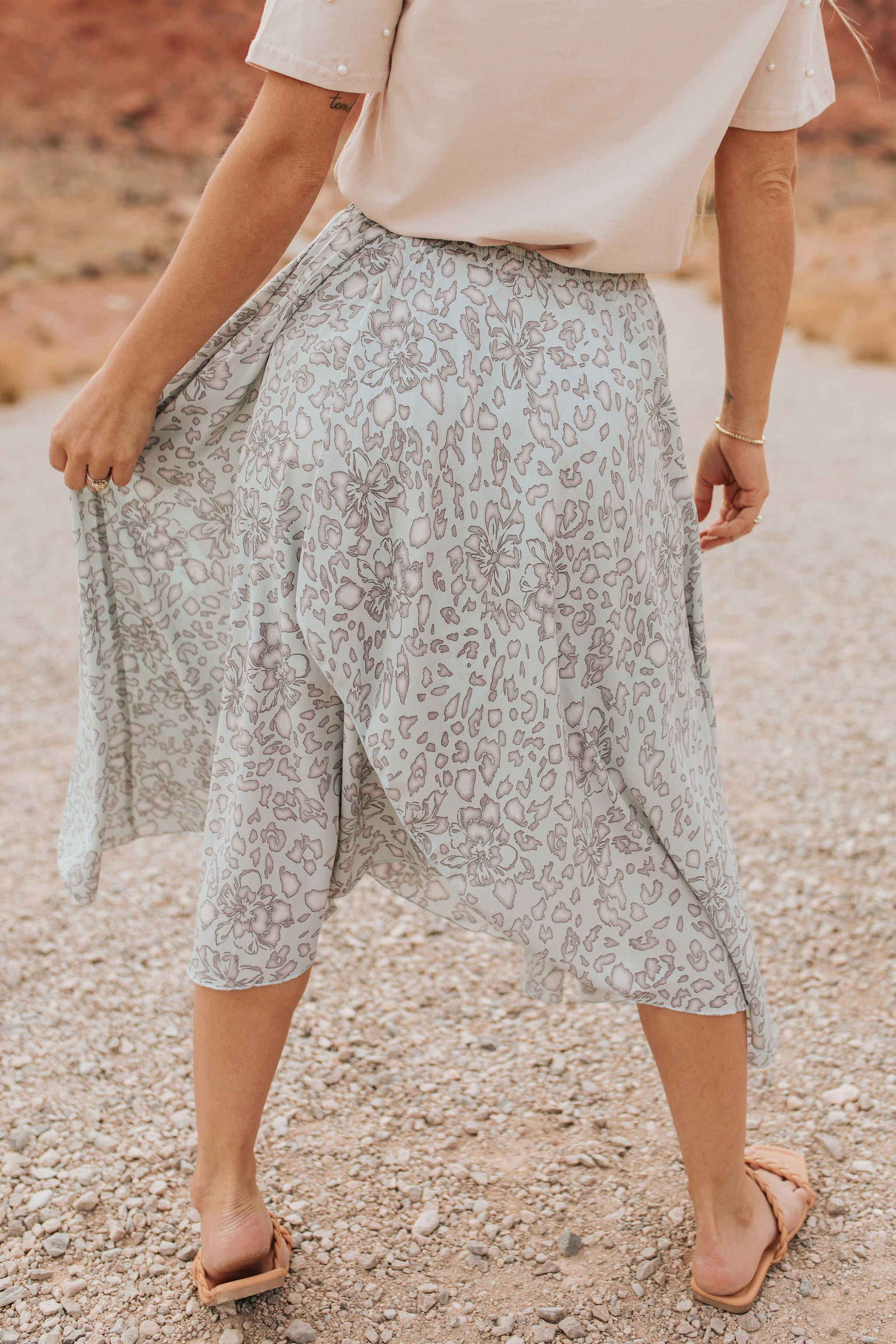 THE LILO LEOPARD FLORAL WRAP SKIRT IN LIGHT BLUE