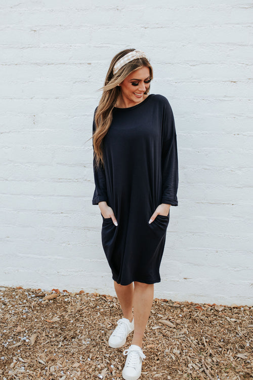 THE LIFE IS BEAUTIFUL MIDI DRESS IN NAVY