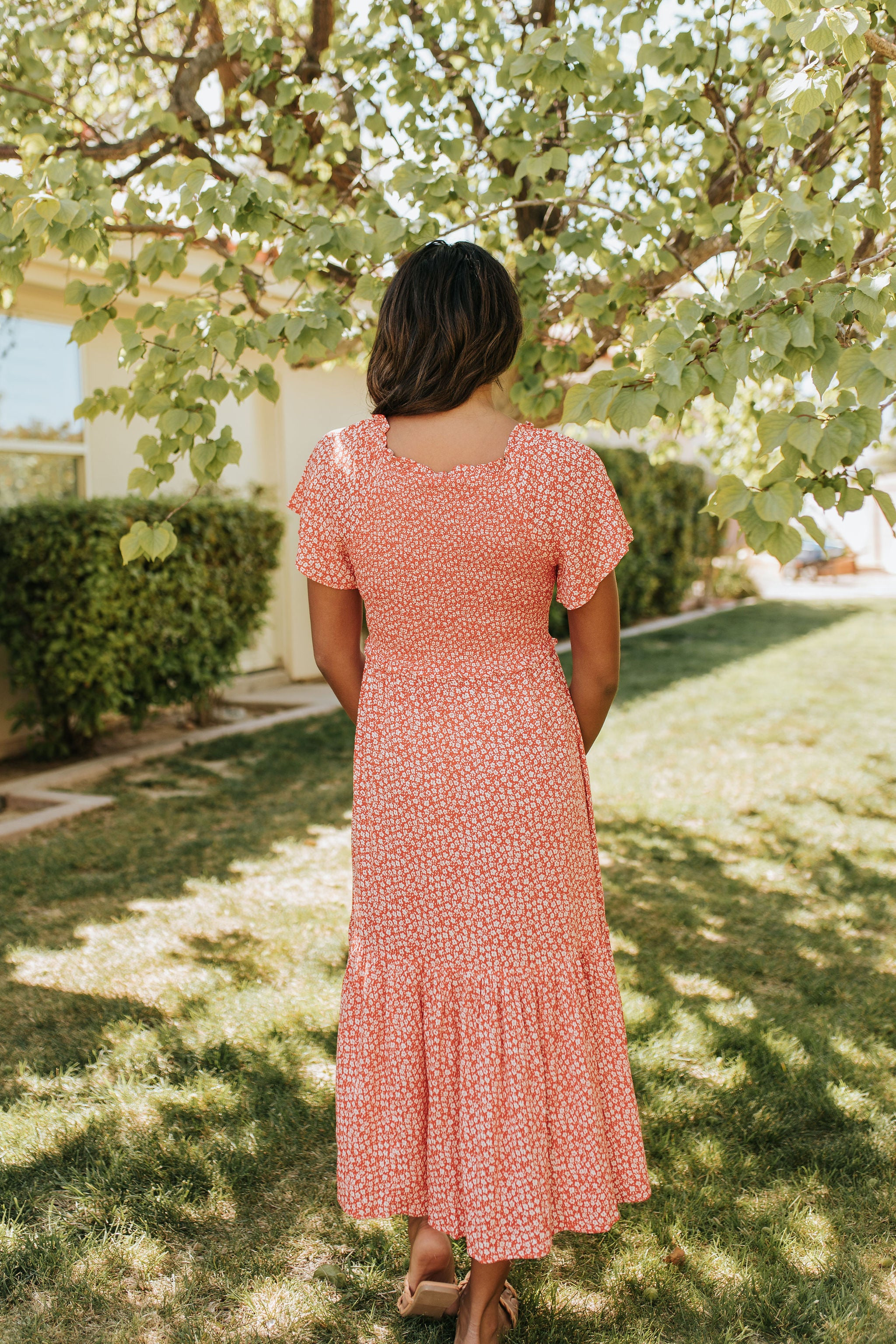 THE TIME FOR SUMMER MIDI DRESS IN TOMATO