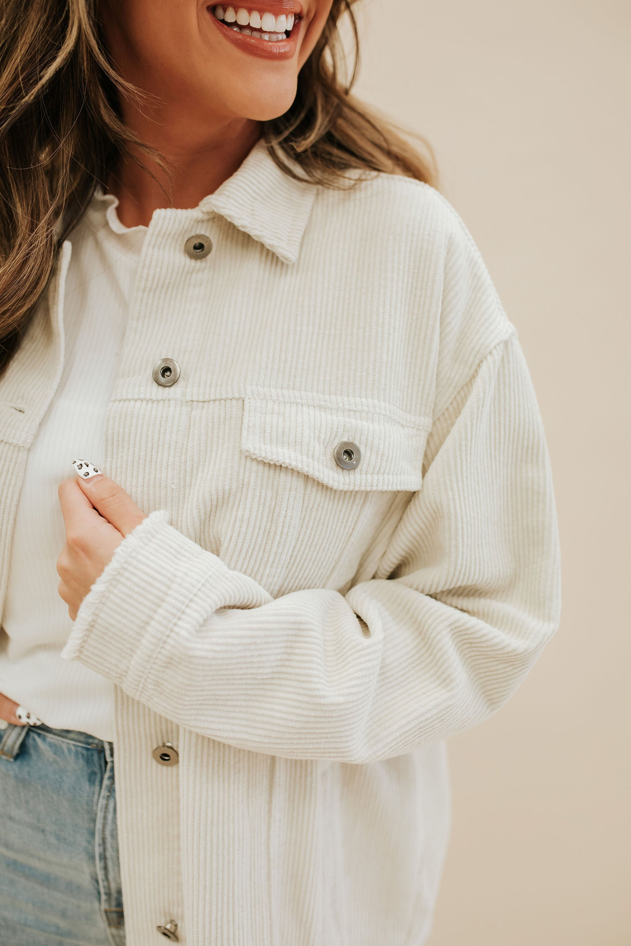 THE COOPER CORDUROY JACKET IN CREAM