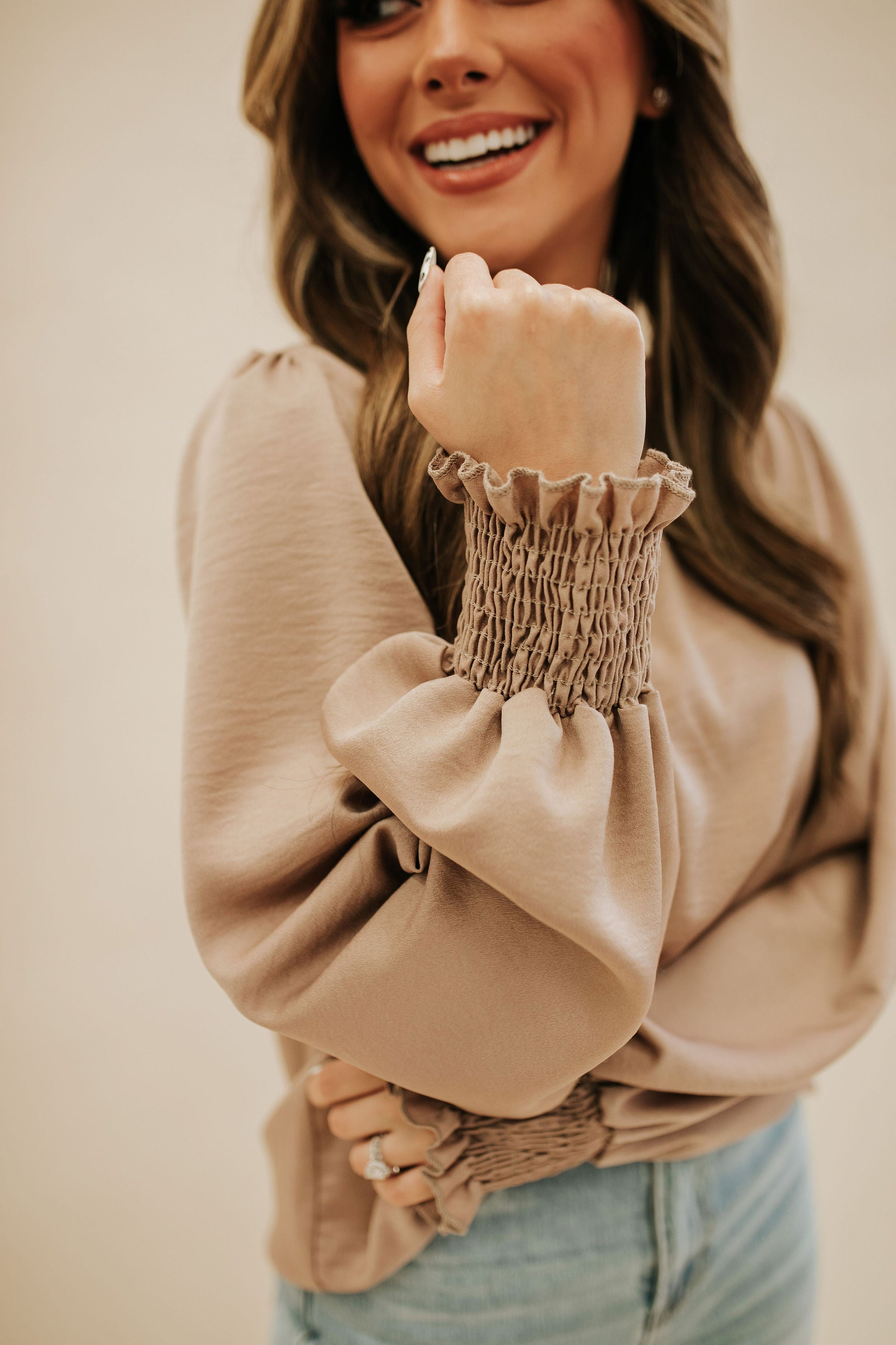 THE SIA SMOCKED SLEEVE BLOUSE IN TAUPE