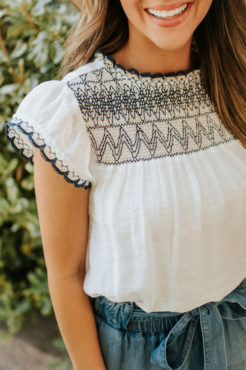 THE INDIE EMBROIDERED TOP IN IVORY