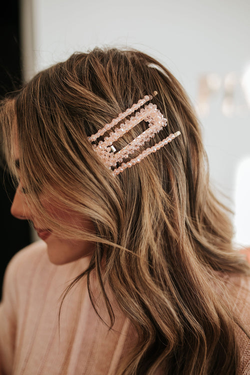 THE BEADED CRYSTAL HAIRPIN SET IN BLUSH